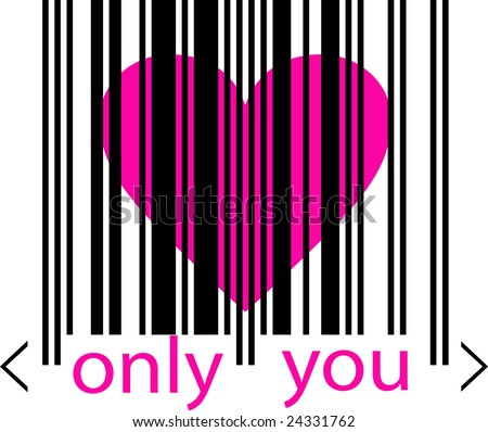 Emo love concept - pink heart marked by barcode. Communication on distance. Post love postcard. - stock vector
