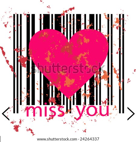 Emo love concept - pink heart marked by barcode with splashes of red and pink watercolor on white background. Miss You Comcept. Love vector for Valentine's Day - stock vector