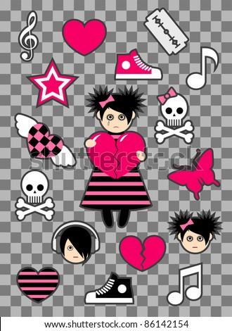 Emo stickers - stock vector
