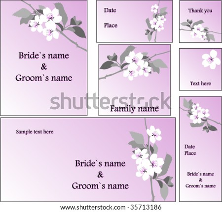 emo wedding cards - stock vector