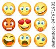 Emoji and sad icon set. Vector illustration - stock vector