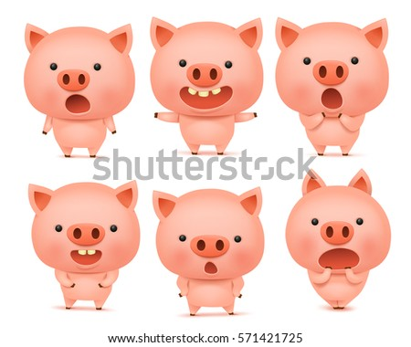 emoji pig character icon set different stock vector