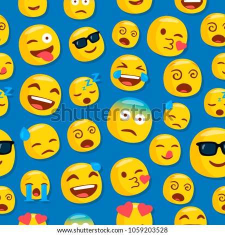 emojis pattern blue background seamless design stock vector