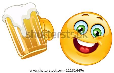 Emoticon cheering with a mug of beer - stock vector
