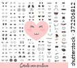 Emoticon creator. Big collection cartoon face. Create your own personality character. Doodle emotion for your cute design. Kawaii faces. Anime smile. Smiley icon constructor. Vector illustration. - stock vector