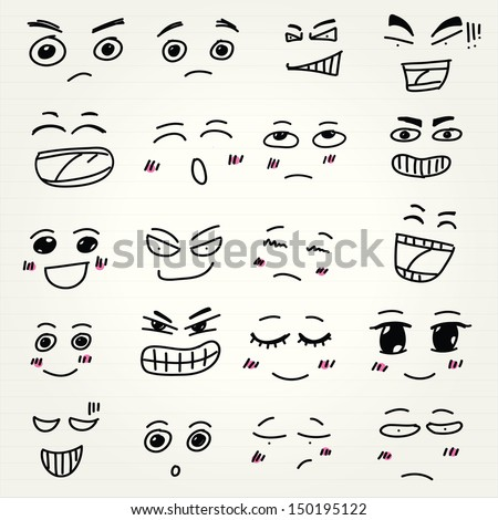Emoticon doodles set. Vector hand drawn - stock vector