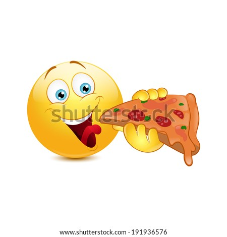 Emoticon eating pizza  on a white background - stock vector