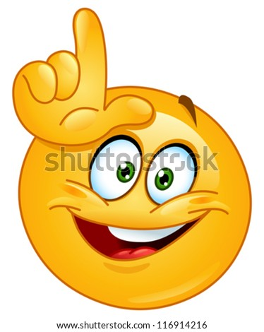 Emoticon making the loser sign - stock vector