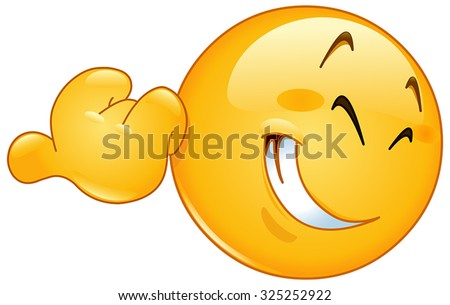 Emoticon pointing with his thumb - stock vector