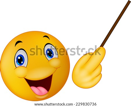 Emoticon smiley doing presentation - stock vector
