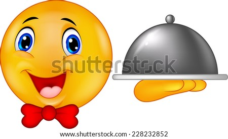 Emoticon smiley holding silver plater - stock vector