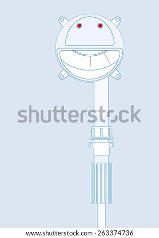 Emoticon - Smiling funny face inside circle. Also background for your text: banner, poster or leaflet. Distinct grimace. - stock vector