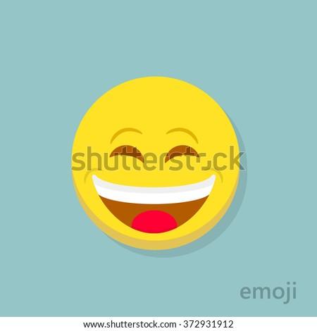 Emoticon vector. Emoticon laughing with closed eyes - stock vector