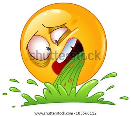Emoticon vomiting - stock vector
