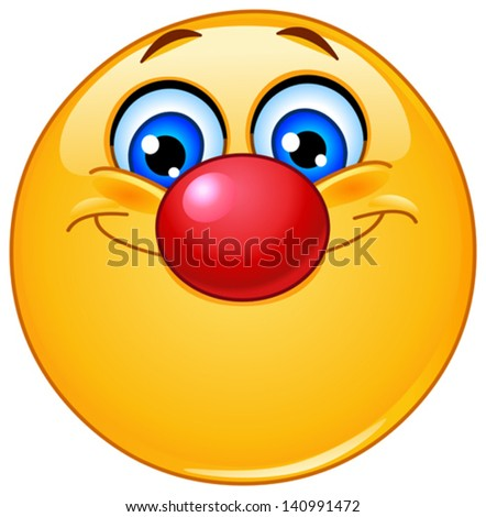 Emoticon with clown nose - stock vector