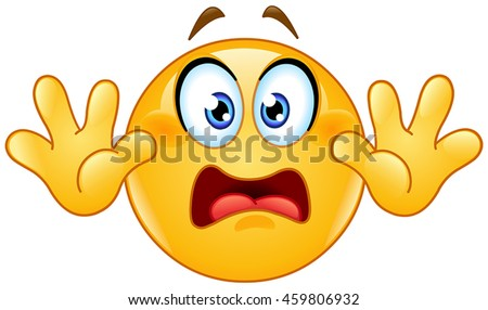 Emoticon with hands up. Showing don't shoot or surrender or stop hand gesture. - stock vector