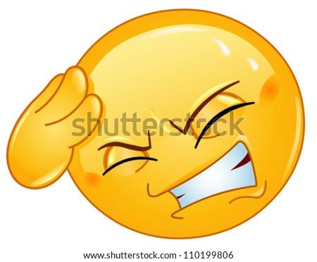 Emoticon with headache - stock vector