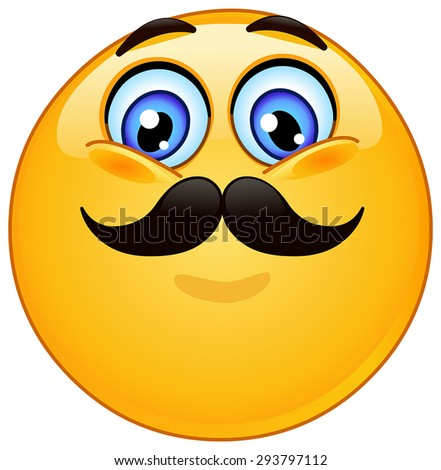 Emoticon with mustache - stock vector