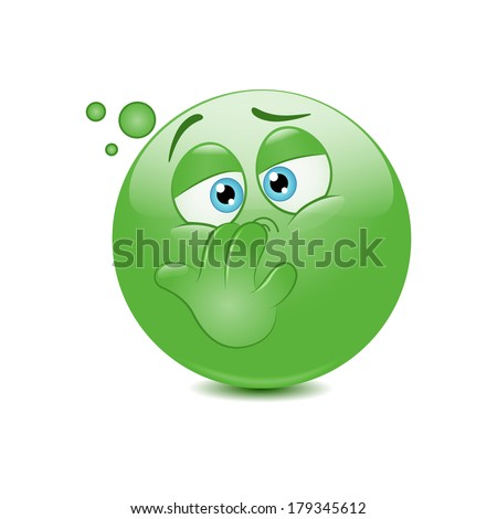 Emoticon with nausea - stock vector