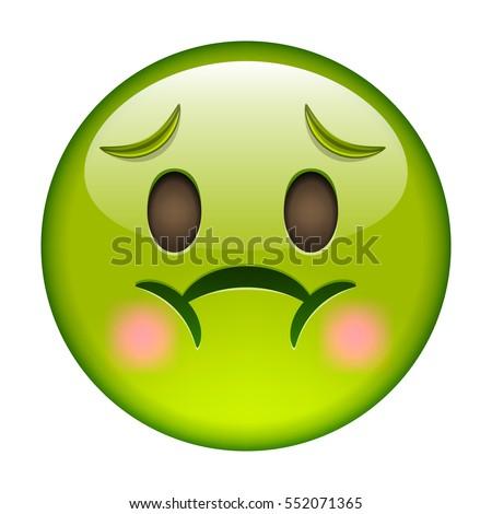 Emoticon nausea smile icon green emoji stock vector hd royalty free 552071365 shutterstock