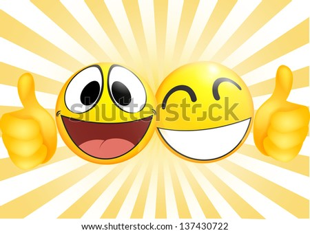 Emoticon with thumb .business commerce concept - stock vector