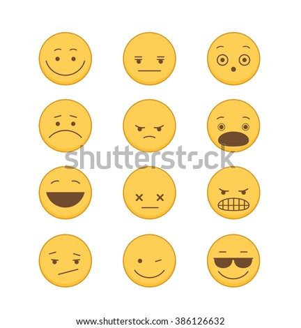 Emoticons icon Set in Flat Style - stock vector