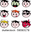 Emoticons nine expressions - stock vector