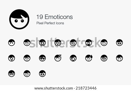 Emoticons Pixel Perfect Icons - stock vector