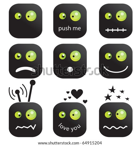 Emoticons set - stock vector