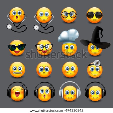 Emoticons set, emoji, smiley - vector illustration