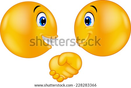 Emoticons shaking hands - stock vector