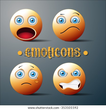 Emoticons.Upset, surprised, angry, confused. vector icons