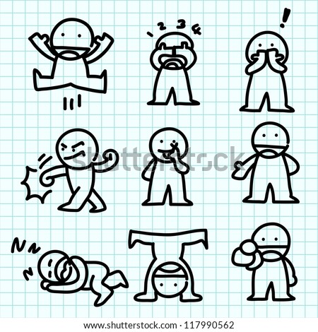 Emotion cartoon on blue graph paper. - stock vector