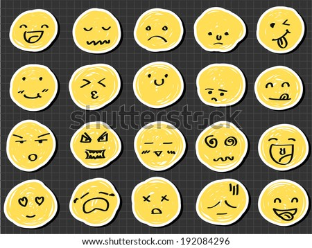 emotion collection sketch drawing vector - stock vector