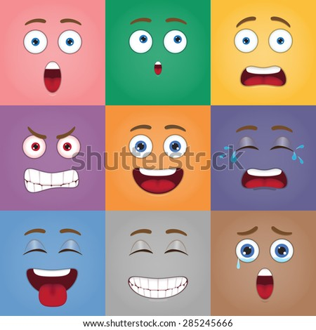emotion of cartoon face eps 10 vector - stock vector