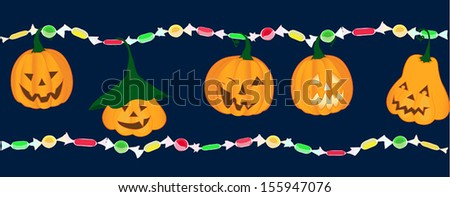 Emotion pumpkins with bright colorful candies trick or treat - stock vector