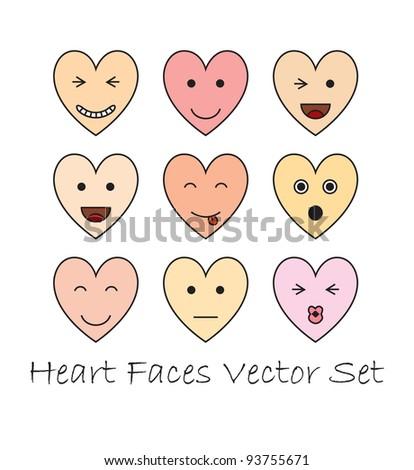 Emotional heart faces valentine set - stock vector