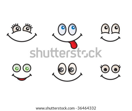 Emotional icons set #1 (happy, positive) - stock vector