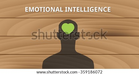 emotional intelligence human head with love symbol mind concept - stock vector