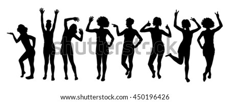 Emotional silhouettes of girls set