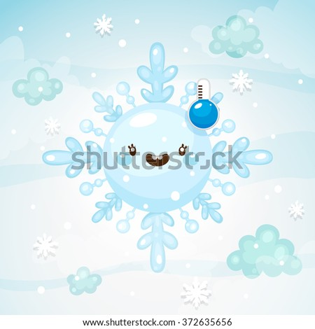 Emotional weather, happy snowflake with thermometer, low temperature, winter time, children's illustration, cartoon style, vector. - stock vector