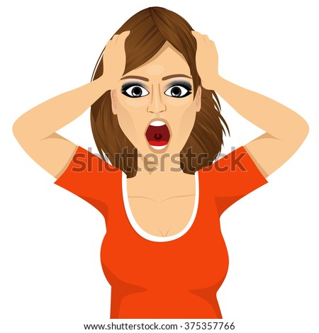 emotionally stressed woman grabbing her head - stock vector