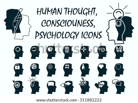 Emotions, feelings, thoughts, human psychology icons. - stock vector