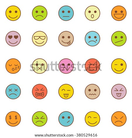 Emotions icons set.Vector - stock vector