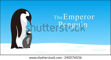 Emperor Penguin Family love each other deeply, Vector - stock vector