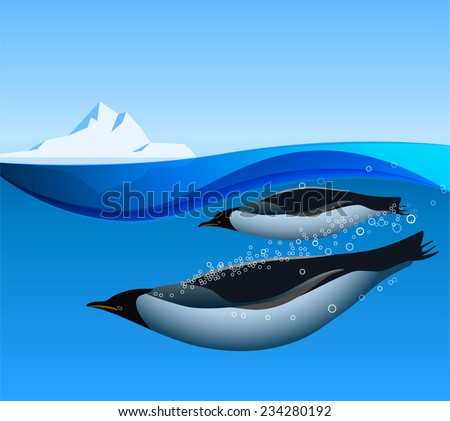 Emperor Penguins swim underwater in the Antarctic ocean with iceberg on the background - stock vector