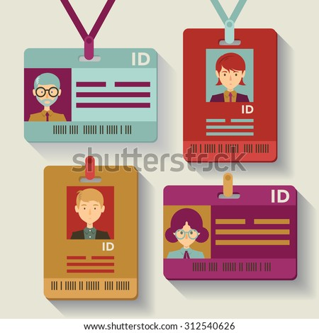 Employee IDs, badges, passes and lanyards in assorted designs and colors - stock vector