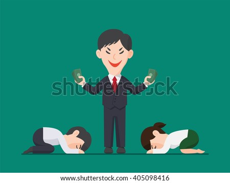 Employee pay respect to Businessman holding a pack of money, Greed Illustration, Power of Money concept - stock vector