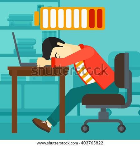 Employee sleeping at workplace.