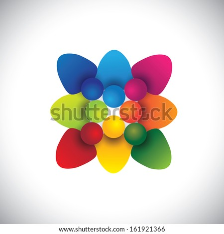 Employee team showing teamwork and unity vector. The graphic can also represent concepts like employees unity, workers union, executives meeting, friendship, team work and team spirit - stock vector